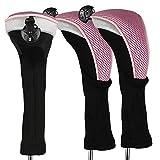 Andux Copritesta per bastoni da Golf ibridi, con Collo Lungo, con Numeri intercambiabili, Confezione da 3, CTMT-02, Pink