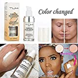 Concealer Cover,TLM Flawless Colour Changing Warm Skin Tone Foundation Makeup Base Nude Face Moisturizing Liquid Cover Concealer for Women Girls SPF15