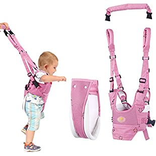 Handheld Baby Walker Toddler Walking Assistant by Autbye, Stand Up and Walking Learning Helper for Baby, 4 in 1 Functional Safety Walking Harness Walker for Baby 7-24 Months (Pink):Dailyvideo