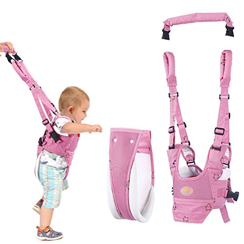 Baby Walker Toddler Walking Harness, Full Adjustable Breathable Baby Walking Helper, Functional Safety Stand Up and Walking Belt for Newborn(7-24months) (Pink)