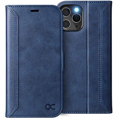 OCASE Retro Hülle iPhone 12 Pro MAX, Handyhülle Tasche PU Leder Flip Cover Brieftasche Etui RFID Schutzhülle Klapphülle Klapphülle Kompatibel für iPhone 12 Pro MAX 5G Blau 6,7 Zoll