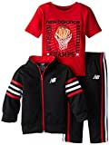 New Balance Baby Boys' Brushed Tricot Jacket and Pant with Jersey T Shirt Set, BLACK and RED, 18M