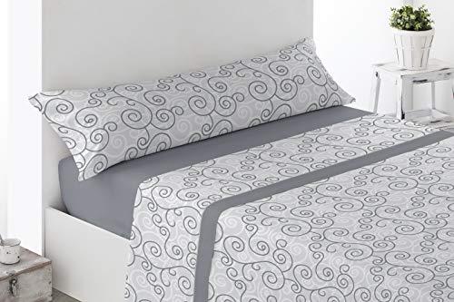 Juego de sábanas Estampadas de Microfibra Transpirable Mod. Rupe (Disponible en Varios tamaños y Colores) (Gris, Cama de 90 cm (90_x_190/200 cm))