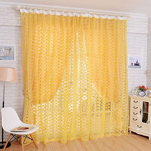 Curtain, Gotd 1PC Rose Tulle Floral Voile Balcony Door Curtain Panel Sheer Window Curtain Room Divider 200X100CM (Yellow)