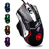 USB Computer Mouse Wired, Light Up Mouse for Laptop with RGB 7 Colors Breathing Light,4 DPI Adjustable up to 3200, 6 Buttons, Ergonomic Gamer PC Mouse for Windows/Mac/Sega Dreamcast(M738)