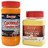 Snappy Pure Colored Coconut Popping Oil, 15 oz, Buttery Flavored Theater Popcorn Salt, 19 oz