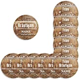 Werbewas 12er Set personalisierbare Buttons für feierliche Anlässe - Junggesellenabschied / JGA - Bachelor Party - Hochzeit - (38mm) Motiv 15 Holz Style