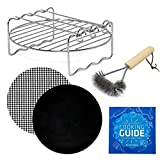 Air Fryer Rack 6.7 inch Accessory Compatible with Costzon, Chefman, Della, Emerald, Flexzion, GoWise, Maxi-Matic, NutriChef +More | Airfryer BBQ Grill Kebab with Grill Brush for Cooking & Grilling