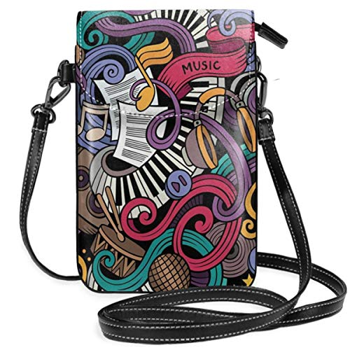 Jiger Women Small Cell Phone Purse Crossbody,Music Themed Hand Drawn Abstract Instruments Microphone Drums Keyboard Stradivarius