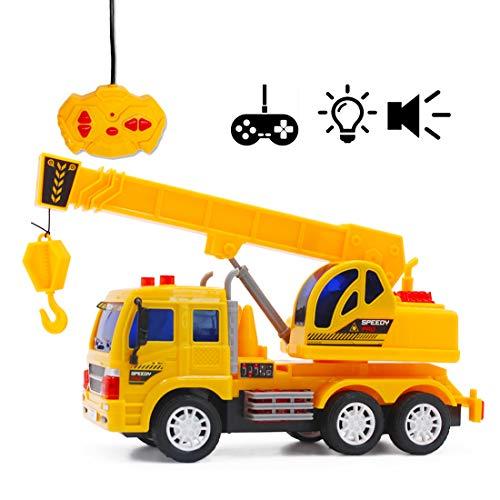 deAO RC Camiones de Serie Camión de Construcción a Radio Control Vehículo de Obras con Luces y Sonidos Nivel Principiante (Camión Grúa)