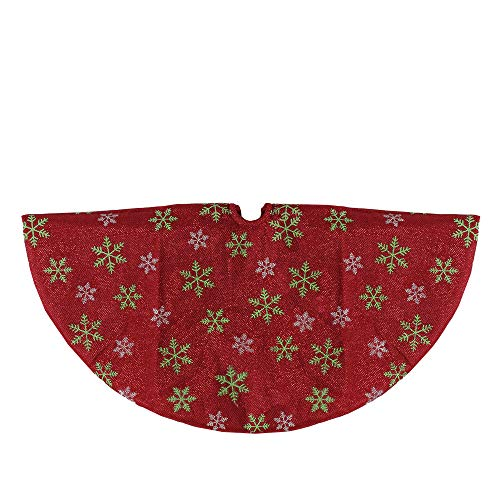"""Northlight 20"""" Metallic Red with Green and White Snowflakes Mini Christmas Tree Skirt"""