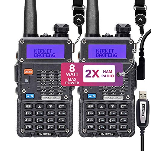 Mirkit 2X Ham Radios UV-5R MK5 8 Watt MP with Mirkit Lanyards for Your Radio - 1800 mAh Li-ion Battery and Programming Cable Compatible for Your uv5r