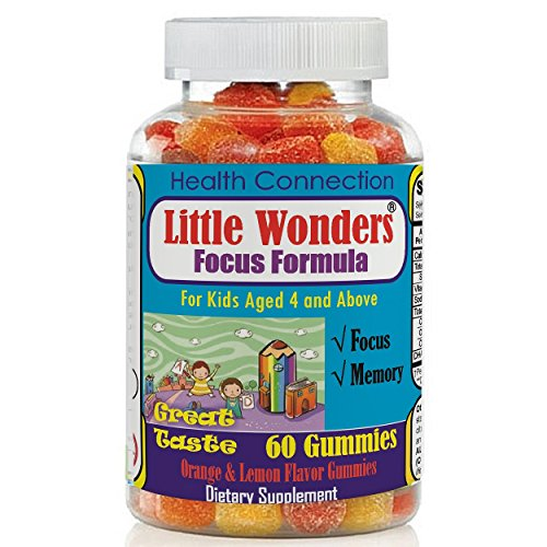 Brain Focus Chewable Gummies for Kids & Teens, Attention & Memory Help Formula Supplements for Childrens, Best Taste Focus Calming MultiVitamins Gummy Natural Omega DHA Nutrition, School Study Task
