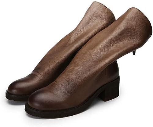 Gaslinyuan Bottes Faites Faites Faites à la Main pour Les Femmes Zipper mi Chaussures Mollet Bloc (Couleuré   Kaki, Taille   EU 36) 358