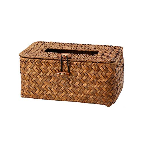 Suytan Rectangle Facial Tissue Box Cover Holder, Decorative Seagrass Woven Paper Holder Car Napkin Dispenser, Simple Country Style Paper Towel Box for Outdoor Patio Dressing Table (Color : Gray),Coff