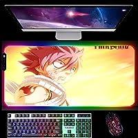 RGBゲーミングマウスパッドAnime FAIRYTAILゲーミングマウスパッドコンピューターLED大型マウスパッド14照明モードPCデスク用800x300x4mmA
