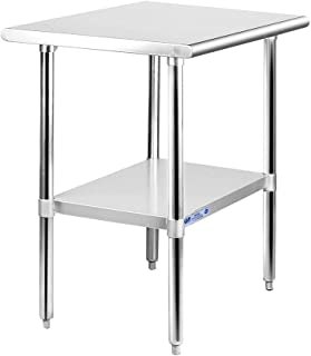 Commercial Stainless Steel Work & Prep Table 24 x 30 Inches, Adjustable Heavy Duty Table with Galvanized Legs and Undershelf for Kitchen and Restaurant