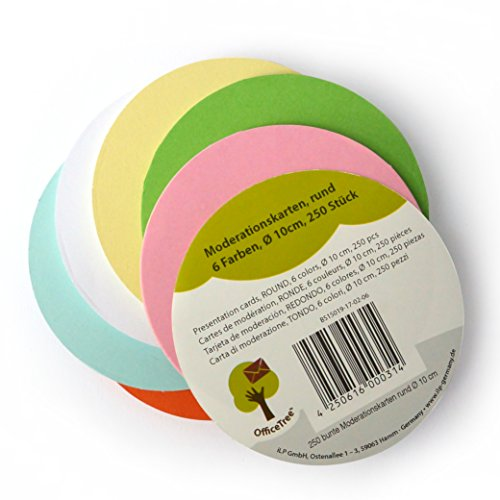 OfficeTree ® Moderationskarten rund 10 cm ø - 250 St. 6 Farben - unverzichtbar für professionelle Präsentation Gesprächsleitung Moderation - Zur Unterstützung im Unterricht Meeting Büro