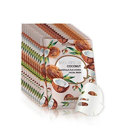 [12 P/Pack] Aceite de Coco Hoja Máscara facial | Mejor Mascarilla anti-envejecimiento y contra arrugas | Esencia natural de colágeno | Suavizar instante su piel | fruta original extracto de vitamina
