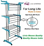 Livix Heavy Duty Rust-free Stainless Steel Double Pole Cloth Drying Stand For Balcony/Clothes