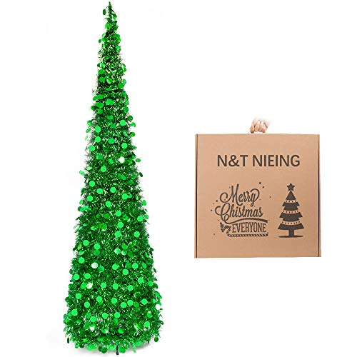 N&T NIETING Christmas Tree, 6ft Collapsible Pop Up Green Tinsel Christmas Tree Coastal Christmas Tree for Holiday Xmas Decorations, Home Display, Office Decor