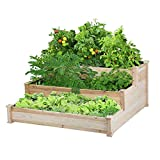 YAHEETECH 3 Tier Raised Garden Bed Wooden Elevated Garden Bed Kit for Vegetables Outdoor Indoor Solid Wood 49 x 49 x 21.9in