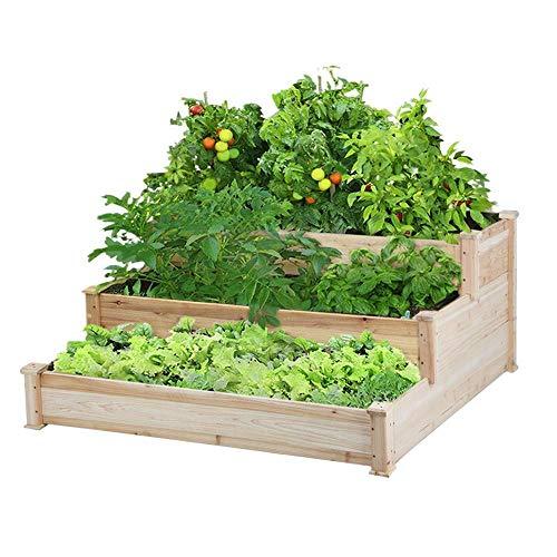 YAHEETECH 3 Tier Raised Garden Bed Wooden Elevated Garden Bed Kit for Vegetables Outdoor Indoor Solid Wood 49 x 49 x 21.9in