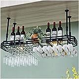 CGF- Rejilla para Copas para el hogar, decoración Creativa Europea, Colgador para Copas de Vino, Rejilla para Copas de Vino, Rejilla para Bar Invertida (Color: Negro, tamaño: 120 * 35 cm)