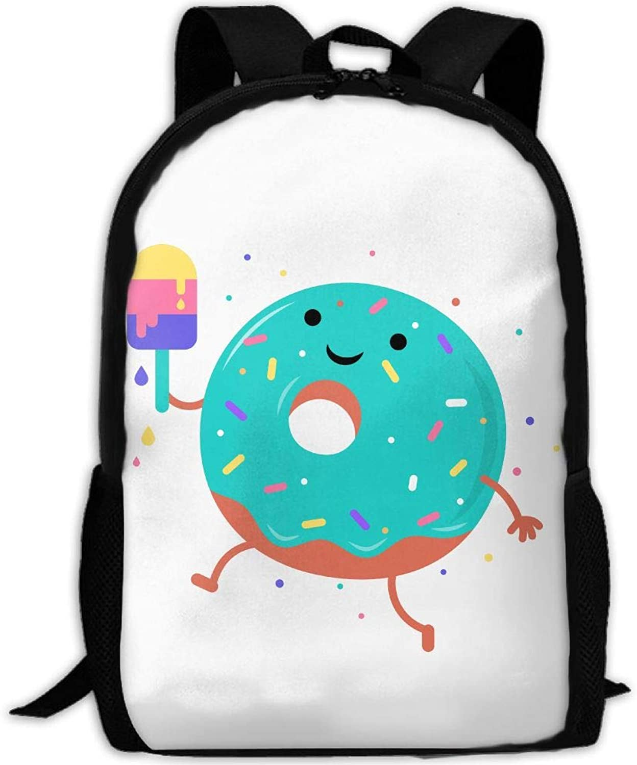 Adult Backpack Cartoon Doughnut College Daypack Oxford Bag Unisex Business Travel Sports Bag with Adjustable Strap