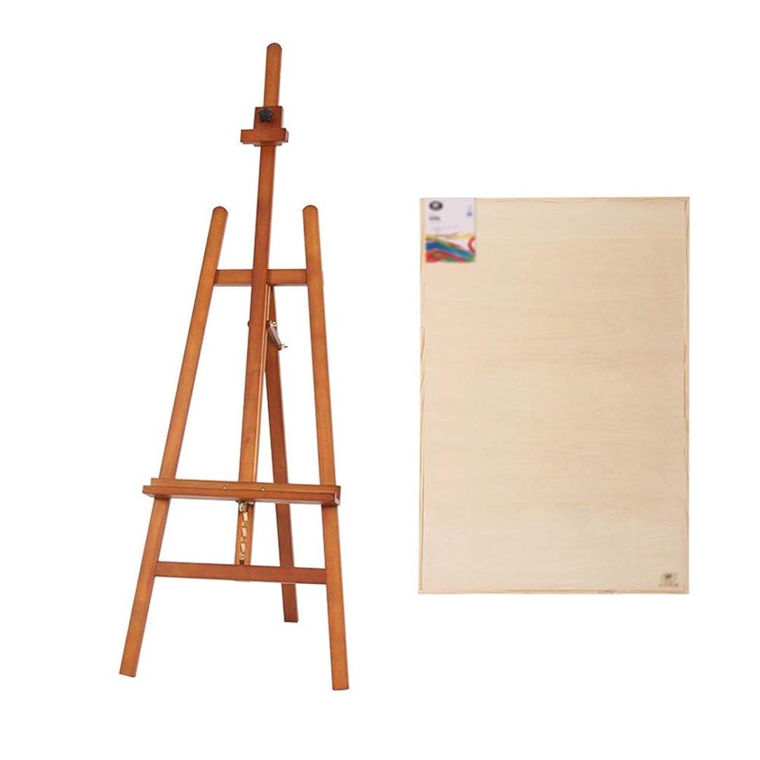 バック加入高音YY 2Kスケッチパッドが付いている木のイーゼル、絵画のための油絵のイーゼルの立場の芸術家イーゼル - 147-193CMの高さ調節可能 (色 : ウォールナット色)