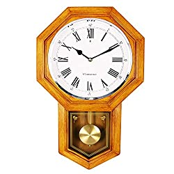 Bestime 『Wood Color』『Plastic』Schoolhouse Wall Clock with Pendulum. Westminster Chime Every Hour, Battery Operated, for Living Room, Office, Home Decor & Gift.