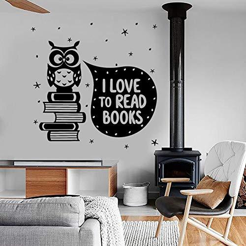 HGFDHG Búho Tatuajes de Pared Citas me Encanta Leer Lindo y romántico Dormitorio de los niños Biblioteca librería decoración de Interiores Pegatinas de Vinilo