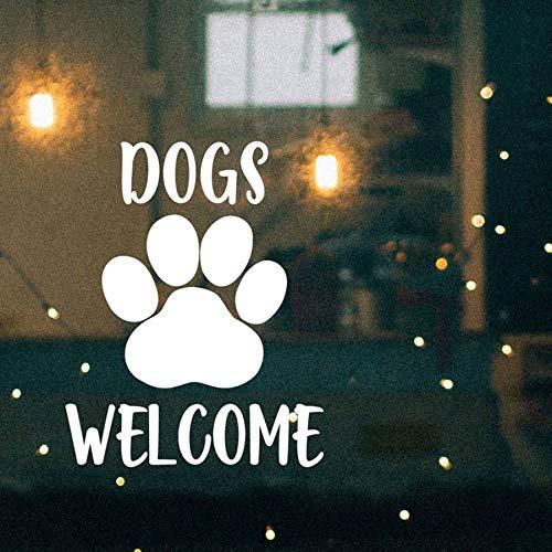 Lamubh Hunde Willkommen Schaufenster Aufkleber Haustierfreundliche Business Vinyl Wandaufkleber für Restaurant Cafe...