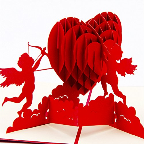 ENJOYPRO Cupid Pop Up Card, Valentines Day Card, Cupid Heart Card, Valentine's Day Pop Up Card, 3D Cupid Greeting Card (3D Cupid, Pack of 1)