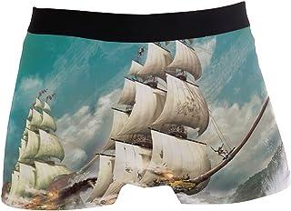 hengpai Ship Prints Men's Boxer Briefs Soft Underwear Covered Waistband Short Leg