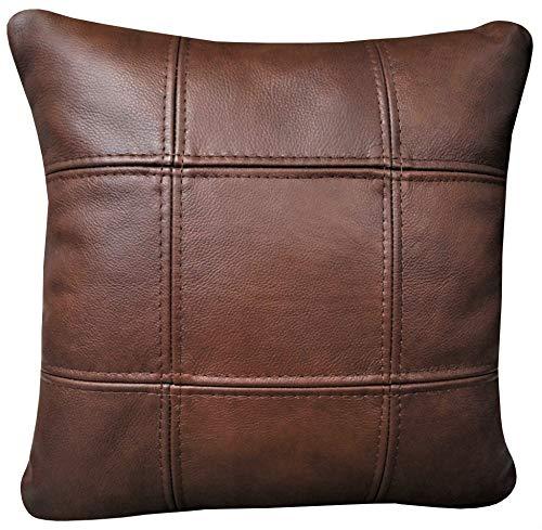 Quattro Meble bruin echt leer Granada Cognac kussen sofa stoel decokussen sierkussen echt leer rugkussen rundleer echt leer leer model 18EL 50 x 50 cm Toledo espresso
