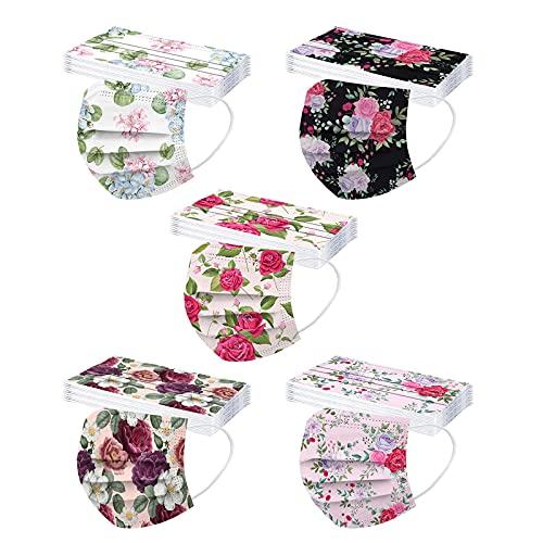 50 Stück Erwachsene für Einweg Mundschutz mit Motiv Schmetterling Blumen Mund und Nasenschutz Bunt Einmal Mundschutz Halstuch Bandana Maske für Herren Damen
