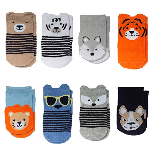 Little Me baby boys Boy Socks, 8-pack Infant and Toddler Costumes, Animal Theme, 0-12 Months US