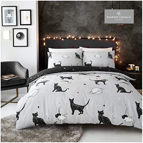 Gaveno Cavailia Crescent Stars Duvet Cover Quilt Bed Set With Pillow Case, Reversible, Poly Cotton, Astro Cat Grey, Double Size Bedding