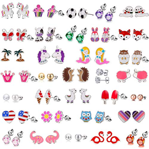 Nickel Free Kids Earrings for Girls Hypoallergenic Pack - Animal Earrings for teen Girls - Cute Earrings Birthday Gifts for Teens 10 11 12 13 year old girl - Heart Shape Girls Earrings Hypoallergenic
