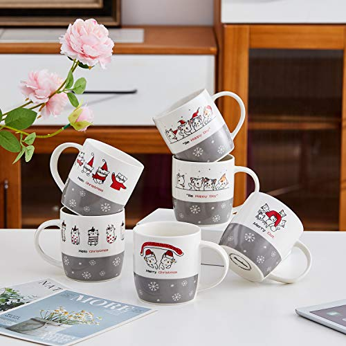 Coffee Mug Set Set of 6 Large-sized 14 Ounce Christmas Theme Ceramic Coffee Mugs Cat Theme Christmas Restaurant Coffee Mugs By Bruntmor Idaho