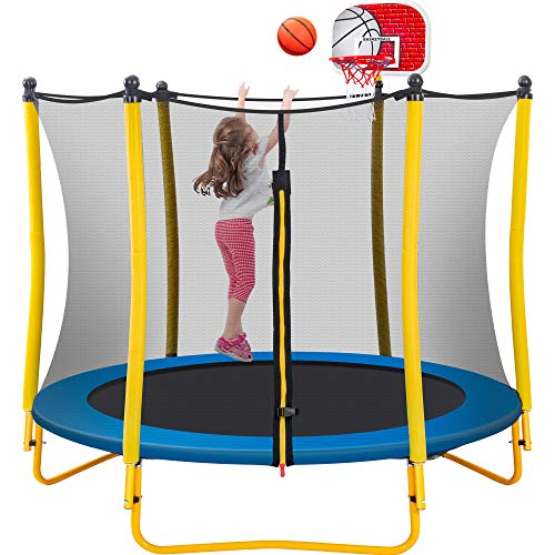 Merax 5.5 FT Kids Trampoline with Basketball Hoop, Rubber Ball and Safety Net, Mini Trampoline for Indoor Outdoor Backyard Fun