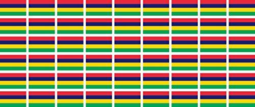 Mini Aufkleber Set - Pack glatt - 20x12mm - Sticker - Mauritius - Flagge - Banner - Standarte fürs Auto, Büro, zu Hause & die Schule - 54 Stück