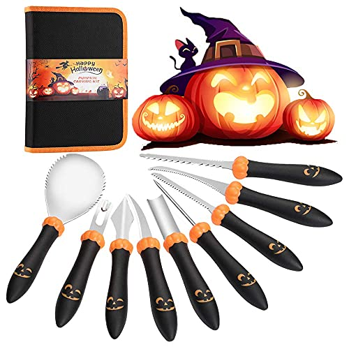 Stickit Graphix Pumpkin Carving Kit, 9 PCS Upgrade Pumpkin & Grimace Pattern Designed Handle Pumpkin Carving Tools Heavy Duty Stainless Steel Carver for Halloween Jack-O-Lanterns with Carrying Case