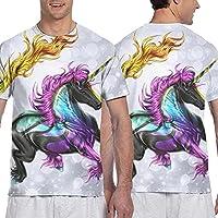 ユニコーン Tシャツ かっこいい Tシャツ 幻い 馬 神獣 運動 刺青 メンズ スポーツ 半袖 夏 丸襟 上着 トップス 3dレンダリング