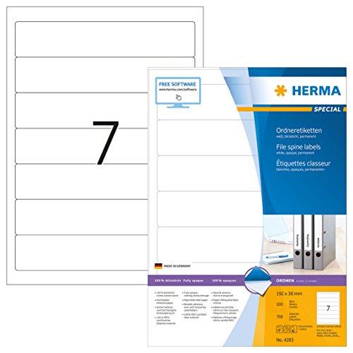 HERMA 4283 Ordnerrücken Etiketten DIN A4 blickdicht, kurz/schmal (192 x 38 mm, 100 Blatt, Papier, matt) selbstklebend, bedruckbar, permanent haftende Ordneretiketten, 700 Rückenschilder, weiß