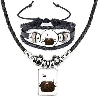 Men Women Beards Eyebrows Eyes Leather Necklace Bracelet Jewelry Set