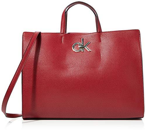 Calvin Klein Re-lock Tote - Borse a tracolla Donna, Rosso (Barn Red), 1x1x1 cm (W x H L)