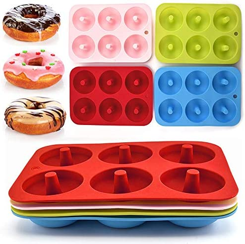 4PCS 6 Cavity Donut Pan Silicone Non Stick Donut Mold for 6 Full Size Donut Easy Clean BPA Free product image
