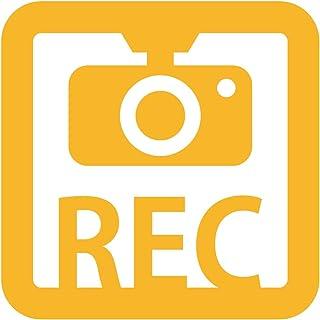 ドラレコ 録画中 撮影中 REC 防犯 セキュリティーマークのカッティング ステッカー・シール 光沢タイプ・防水・耐水・屋外耐候3~4年 煽り運転 抑止 ドライブレコーダー 車間距離(黄, 75mm)